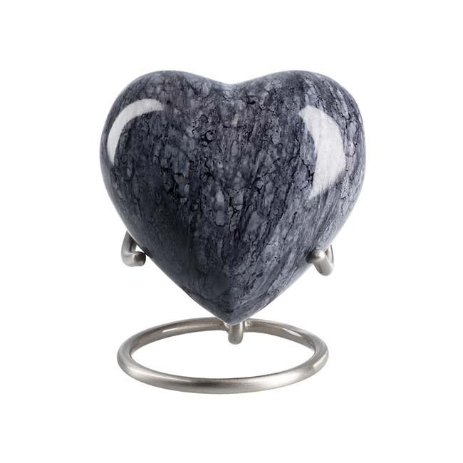 Eleganz Herz Tierurne Masse Blau Granit (0,1 Liter) Tierurnen