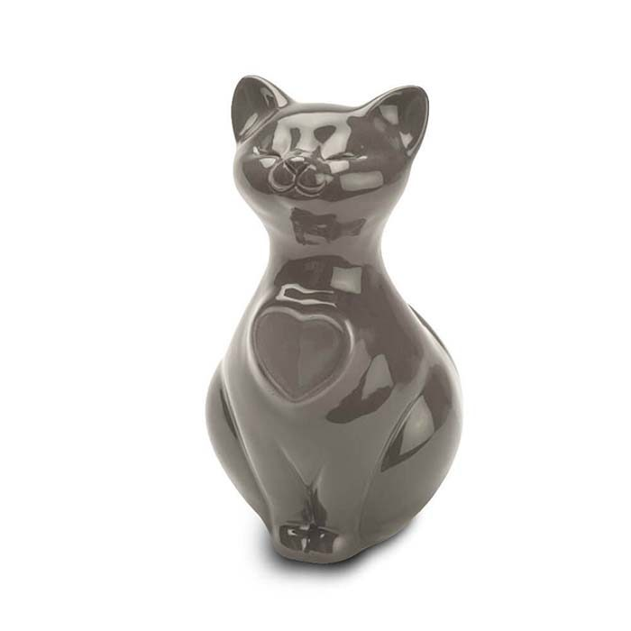 Katze Urne oder Aschebild Herz – Braun (0,8 Liter) Katzenurnen