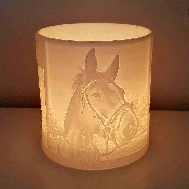 Gedenklicht mit drei 3D Porträten Pferde Tierurnen