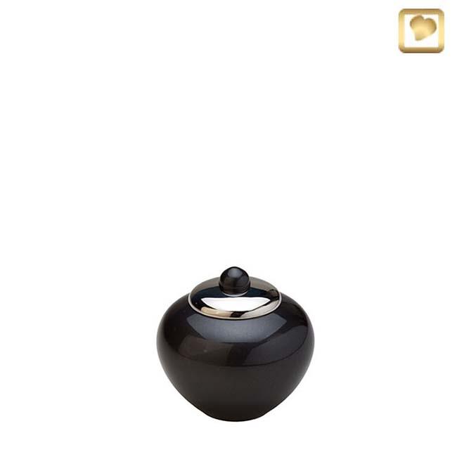 Mini Messing Simplicity Tierurne Schwarz-Silber (0,1 Liter) Tierurnen