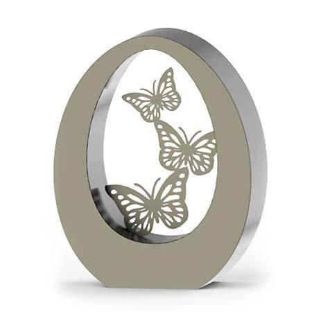 Große RVS Oval Schmetterling Tierurne (3,5 Liter) Tierurnen