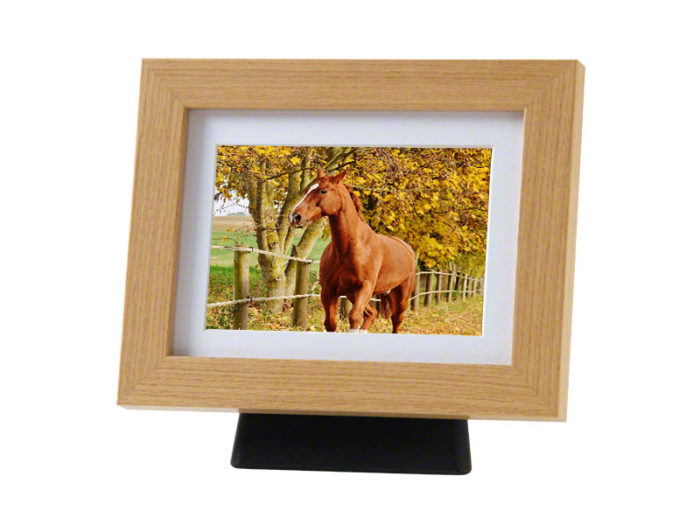 Pferd oder Pony Urne mit hölzernem Fotorahmen Eiche (4,0 Liter) Tierurnen