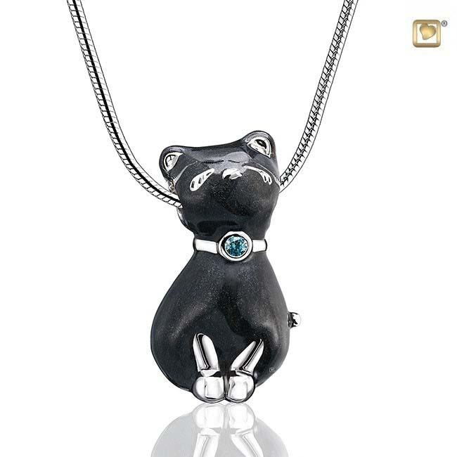 Anhänger Katze Schwarz, inklusive Colliere Ascheanhänger LoveUrns mit Collier
