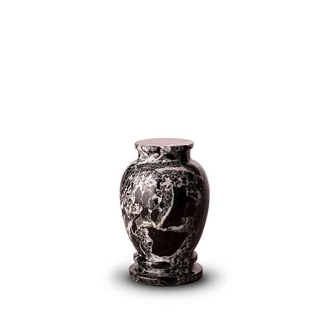 Mini Marmor Tierurne Weiß-Schwarz (0,15 Liter) Tierurnen