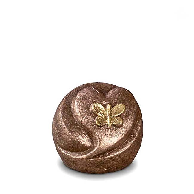 Mini Komfort Schmetterling-Herz Tierurne (0,1 Liter) Kleine Urnen für Kleintiere zum Trost