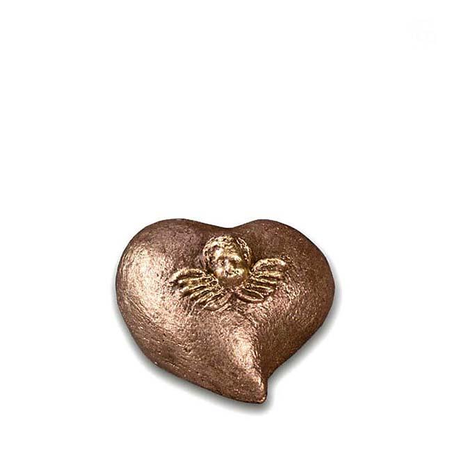 Komfort Mini Tierurne Herz Engel (0,1 Liter) Kleine Urnen für Kleintiere zum Trost