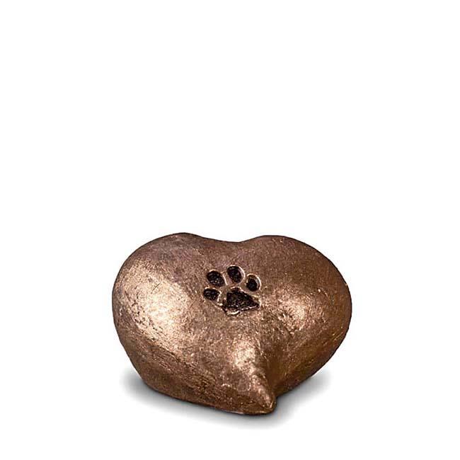Mini Komfort Herzpfotenabdruck Tierurne (0,1 Liter) Kleine Urnen für Kleintiere zum Trost
