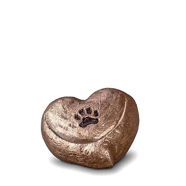 Mini Komfort Gedenkherz Töpfchen Tierurne (0,1 Liter) Kleine Urnen für Kleintiere zum Trost