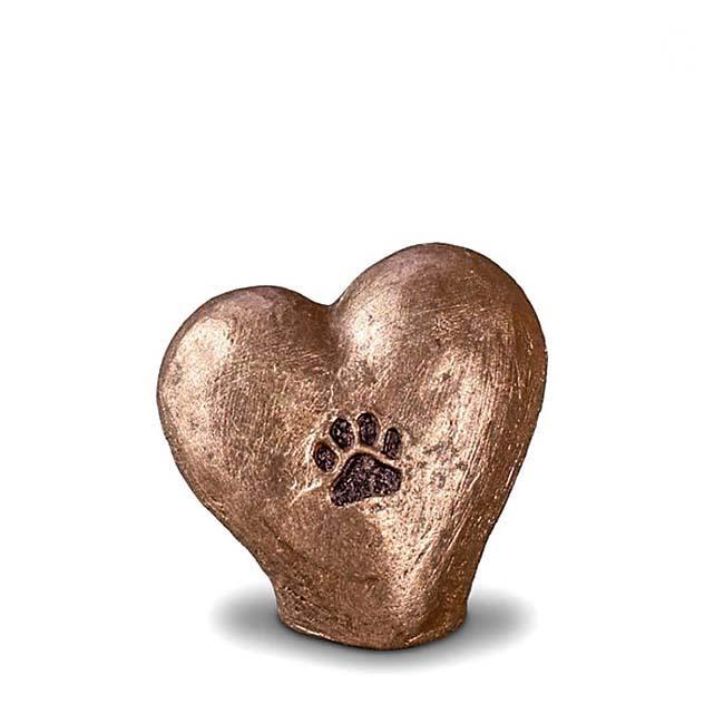 Mini Komfort Herzabdrucke Tierurne (0,1 Liter) Kleine Urnen für Kleintiere zum Trost