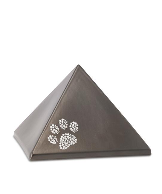Kleine Pyramide Tierurne Schokolade Swarovski Pfotenabdruck (0,5 Liter) Pyramidenförmige Urnen Haustier