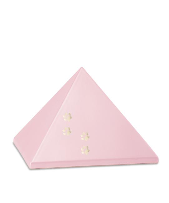 Mittelgroße Pyramide Tierurne Pink 4 Pfotenabdrücke (1,5 Liter) Pyramidenförmige Urnen Haustier