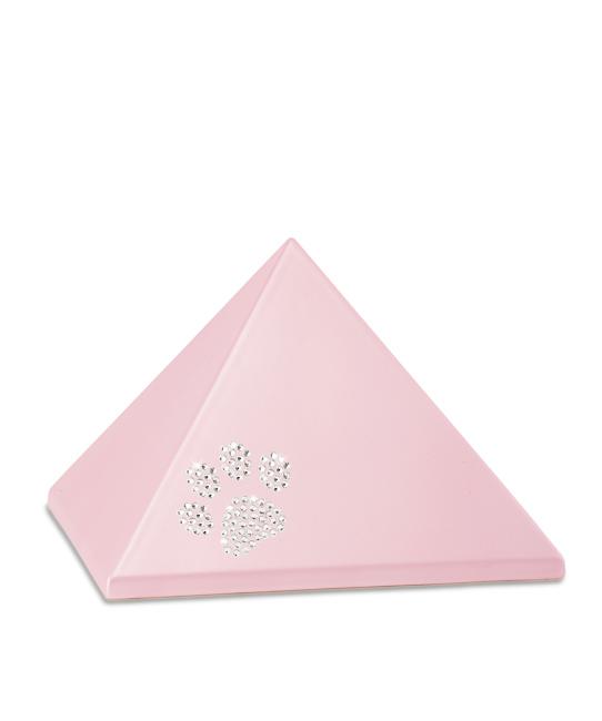 Mittelgroße Pyramide Tierurne Pink Swarovski Pfotenabdruck (1,5 Liter) Pyramidenförmige Urnen Haustier