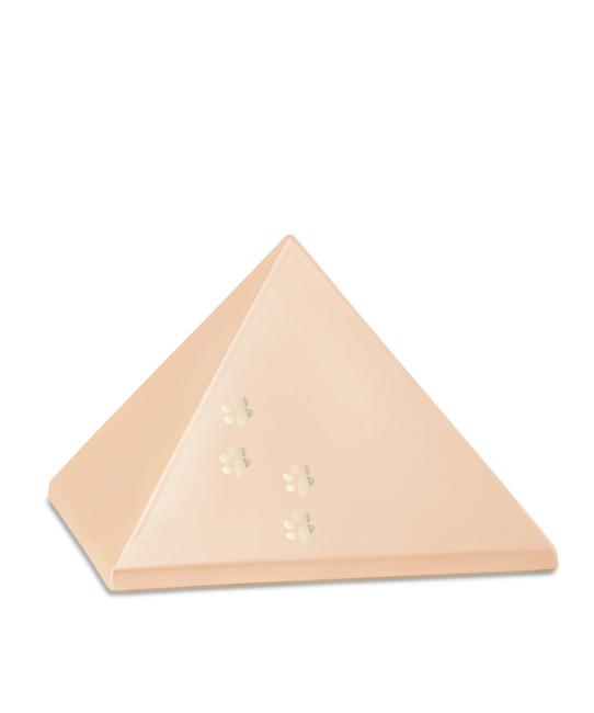 Mittelgroße Pyramide Tierurne Aprikose 4 Pfotenabdrücke (1,5 Liter) Pyramidenförmige Urnen Haustier