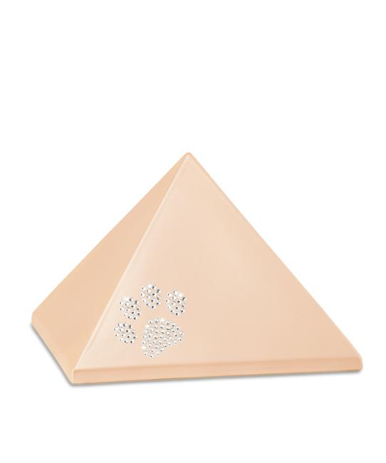 Mittelgroße Pyramide Tierurne Aprikose Swarovski Pfotenabdruck (1,5 Liter) Pyramidenförmige Urnen Haustier