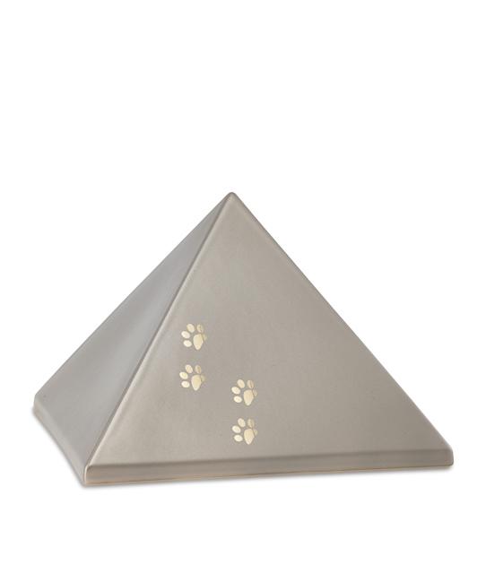 Mittelgroße Pyramide Tierurne Fume 4 Pfotenabdrücke (1,5 Liter) Pyramidenförmige Urnen Haustier