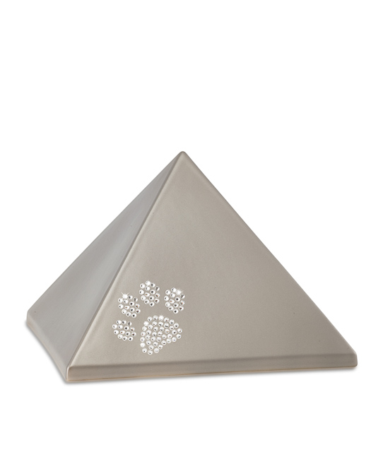 Mittelgroße Pyramide Tierurne Fume Swarovski Pfotenabdruck (1,5 Liter) Pyramidenförmige Urnen Haustier