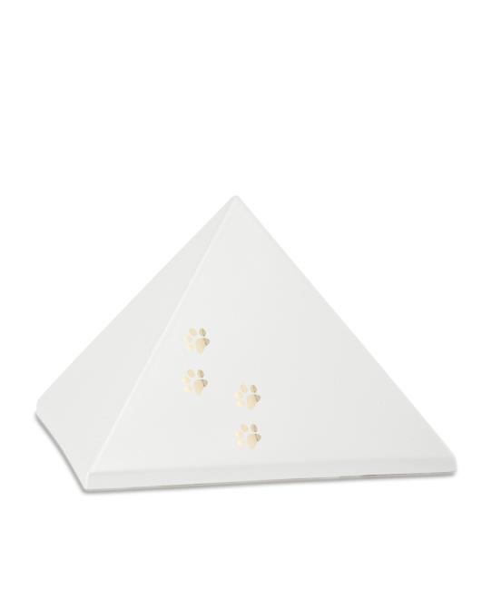 Mittelgroße Pyramide Tierurne Perlweiß 4 Pfotenabdrücke (1,5 Liter) Pyramidenförmige Urnen Haustier