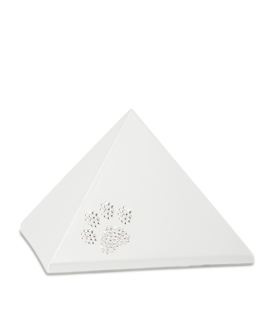 Mittelgroße Pyramide Tierurne Perlweiß Swarovski Pfotenabdruck (1,5 Liter) Pyramidenförmige Urnen Haustier