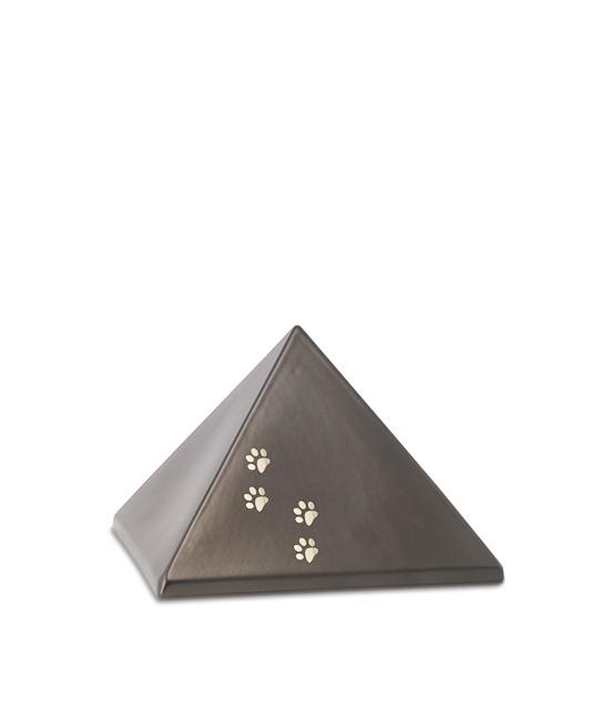 Kleine Pyramide Tierurne Schokolade 4 Pfotenabdrücke (0,5 Liter) Pyramidenförmige Urnen Haustier