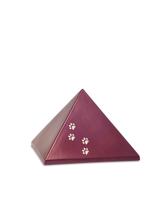 Kleine Pyramide Tierurne Weinrot Pfotenabdrücke (0,5 Liter) Pyramidenförmige Urnen Haustier