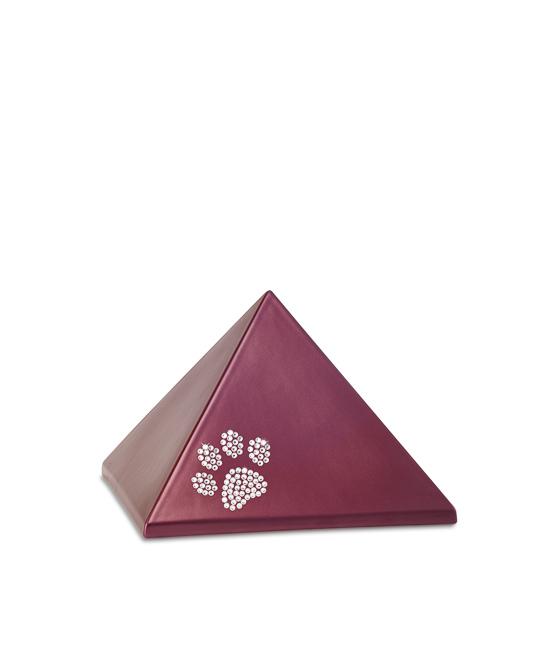 Kleine Pyramide Tierurne Weinrot Swarovski Pfotenabdruck (0,5 Liter) Pyramidenförmige Urnen Haustier