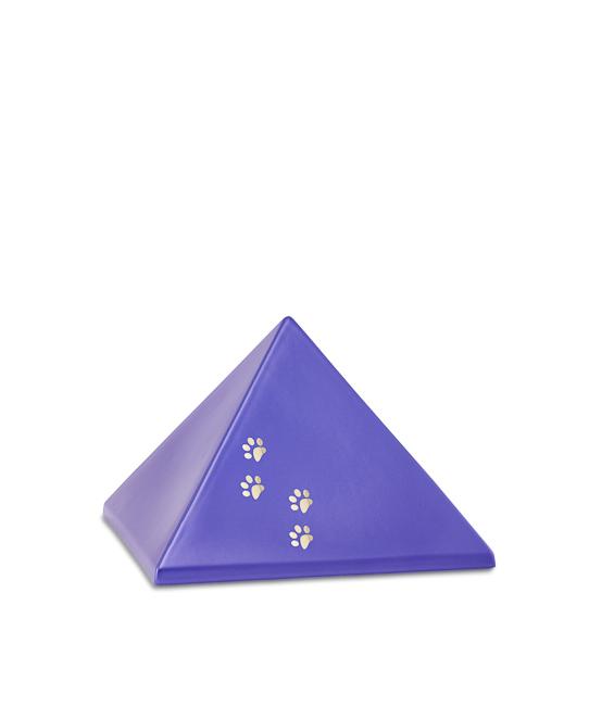 Kleine Pyramide Tierurne Violett 4 Pfotenabdrücke (0,5 Liter) Pyramidenförmige Urnen Haustier