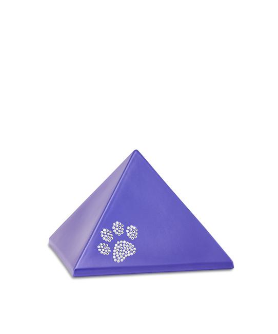 Kleine Pyramide Tierurne Violett Swarovski Pfotenabdruck (0,5 Liter) Pyramidenförmige Urnen Haustier