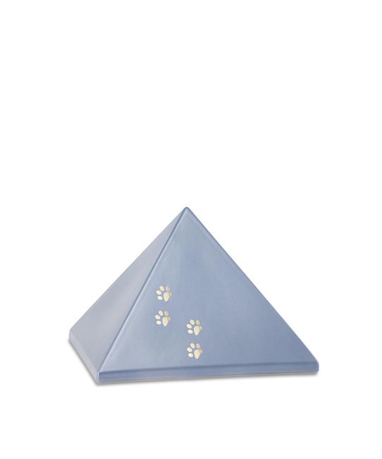 Kleine Pyramide Tierurne Stahlfarben 4 Pfotenabdrücke (0,5 Liter) Pyramidenförmige Urnen Haustier