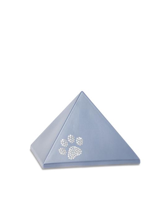 Kleine Pyramide Tierurne Stahlfarben Swarovski Pfotenabdruck (0,5 Liter) Pyramidenförmige Urnen Haustier