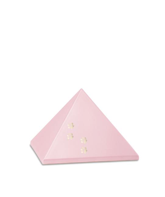Kleine Pyramide Tierurne Pink 4 Pfotenabdrücke (0,5 Liter) Pyramidenförmige Urnen Haustier