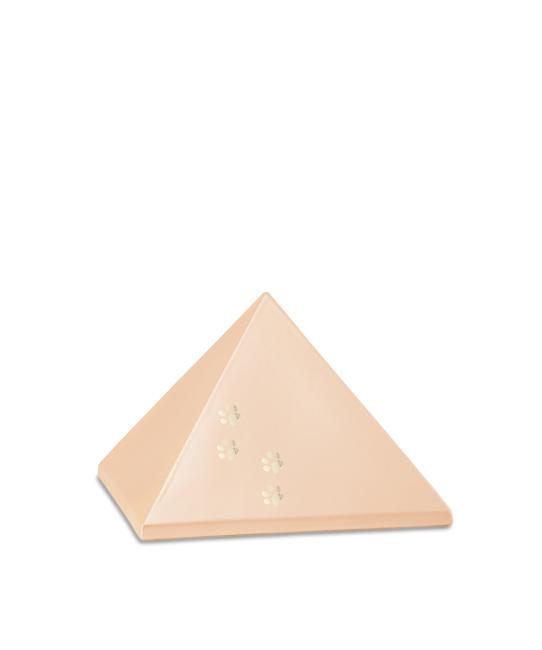 Kleine Pyramide Tierurne Aprikose 4 Pfotenabdrücke (0,5 Liter) Pyramidenförmige Urnen Haustier