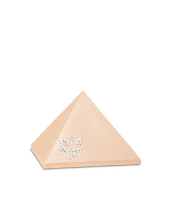Kleine Pyramide Tierurne Aprikose Swarovski Pfotenabdruck (0,5 Liter) Pyramidenförmige Urnen Haustier