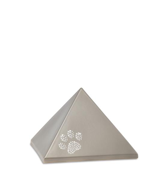 Kleine Pyramide Tierurne Fume Swarovski Pfotenabdruck (0,5 Liter) Pyramidenförmige Urnen Haustier