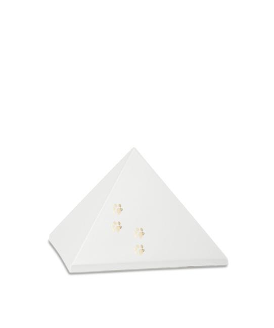 Kleine Pyramide Tierurne Perlweiß 4 Pfotenabdrücke (0,5 Liter) Pyramidenförmige Urnen Haustier
