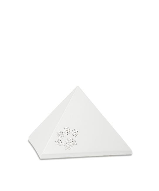 Kleine Pyramide Tierurne Perlweiß Swarovski Pfotenabdruck (0,5 Liter) Pyramidenförmige Urnen Haustier