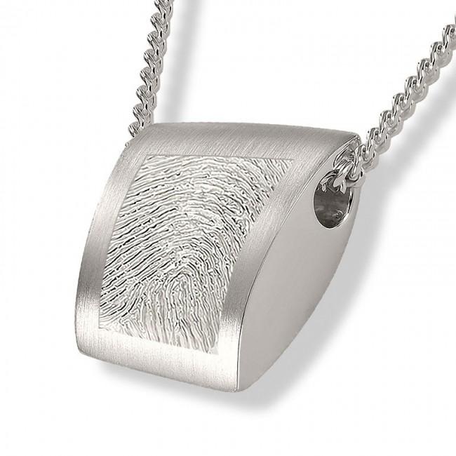 Fingerabdruck Ashanger Rechtekig Silber Asche Schmuck
