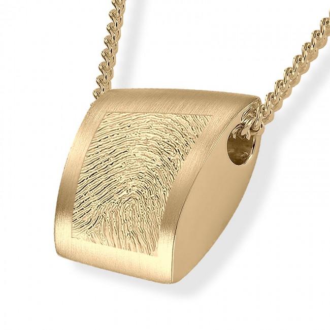 Fingerabdruck Ashanger Rechtekig Gold Asche Schmuck