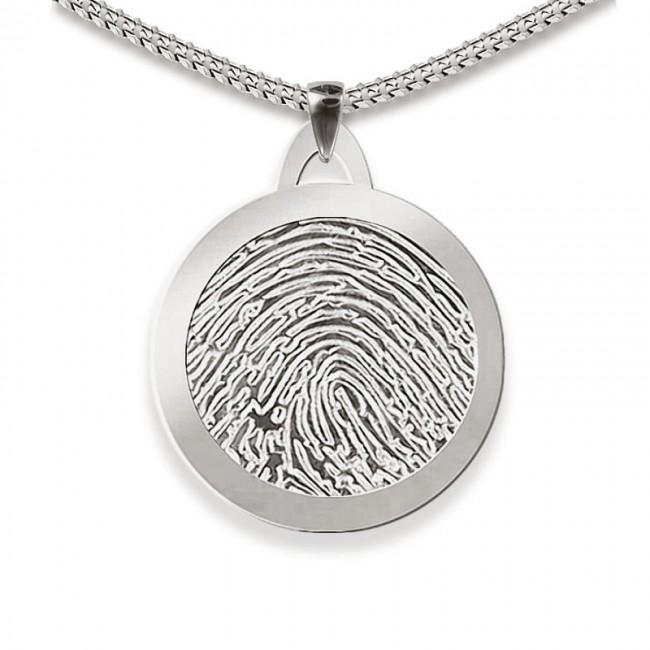 Dünner Runder Fingerabdruck Asche Schmuck Silber Große Asche Schmuck