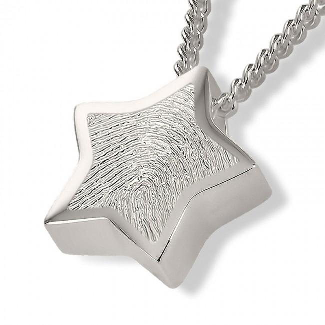 Fingerabdruck Eschenanhänger Stern Silber Asche Schmuck