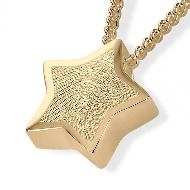 Fingerabdruck Eschenanhänger Stern Gold Asche Schmuck