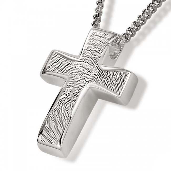 Fingerabdruck Eschenanhänger Kreuz Silber Asche Schmuck