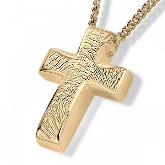 Fingerabdruck Eschenanhänger Kreuz Gold Asche Schmuck