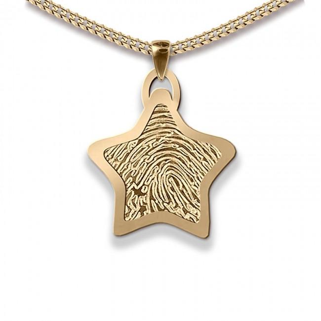 Dünner Stern Fingerabdruck Schmuck Gold Medium Asche Schmuck