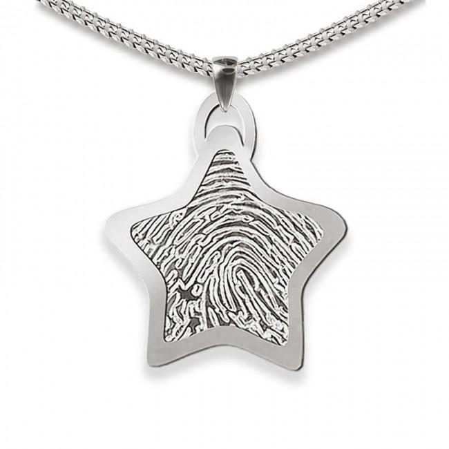Dünner Stern Fingerabdruck Schmuck Silber Große Asche Schmuck