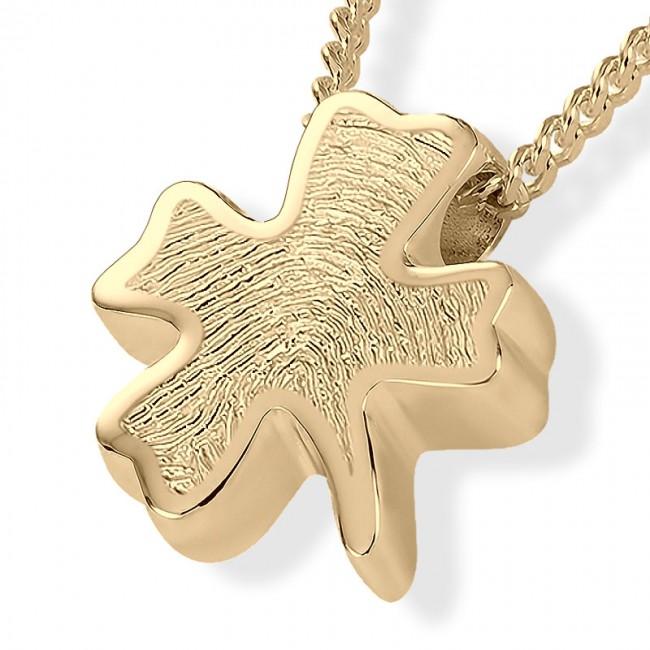 Fingerabdruck Eschenanhänger Kleeblatt Gold Asche Schmuck
