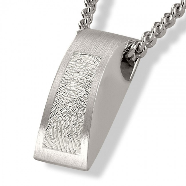 Fingerabdruck Ashanger Rechteckig Silber Asche Schmuck
