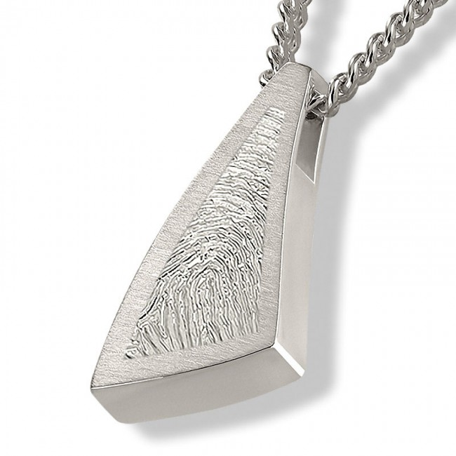 Dreieckiger ´Sail Away´ Fingerabdruck Asche Schmuck Silber Asche Schmuck