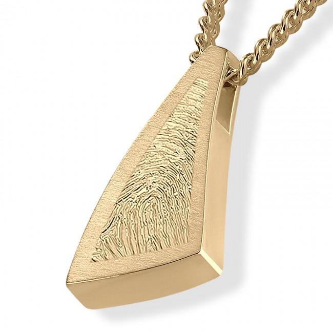 Dreieckiger ´Sail Away´ Fingerabdruck Asche Schmuck Gold Asche Schmuck