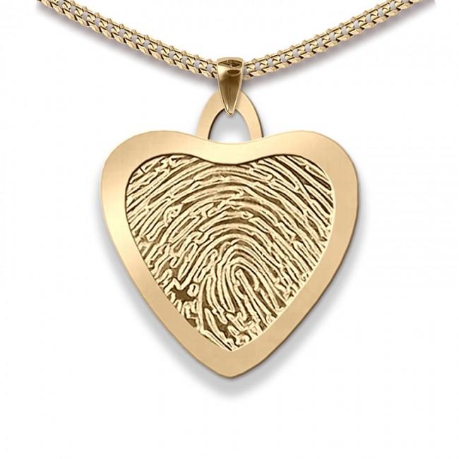 Dünner Große Herz Fingerabdruck Schmuck Gold Asche Schmuck