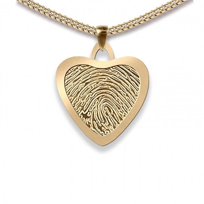 Dünner Mittlere Herz Fingerabdruck Schmuck Gold Asche Schmuck